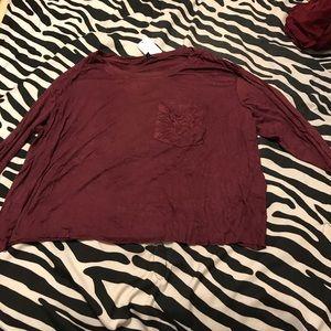 Burgundy Long Sleeve Crop Top with pocket